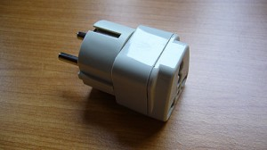 An adapter for electric plugs from US to Germany