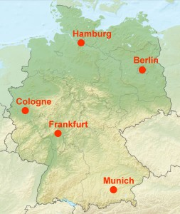 Largest German Cities on a map